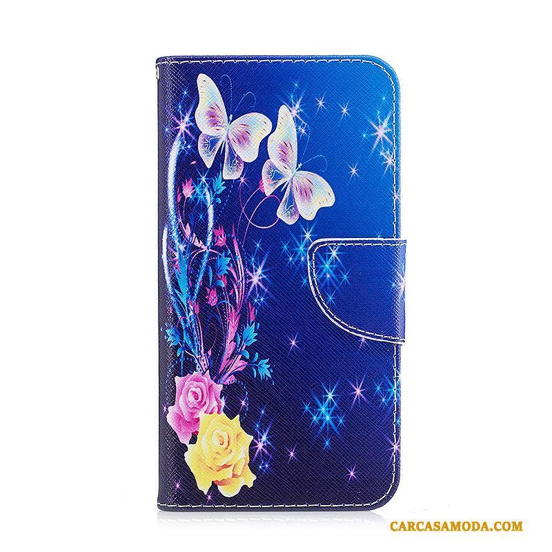 63dba95a8f3 Samsung Galaxy A3 2017 Estrellas Carcasa Funda De Cuero Folio Azul Pintados  Protección Oferta