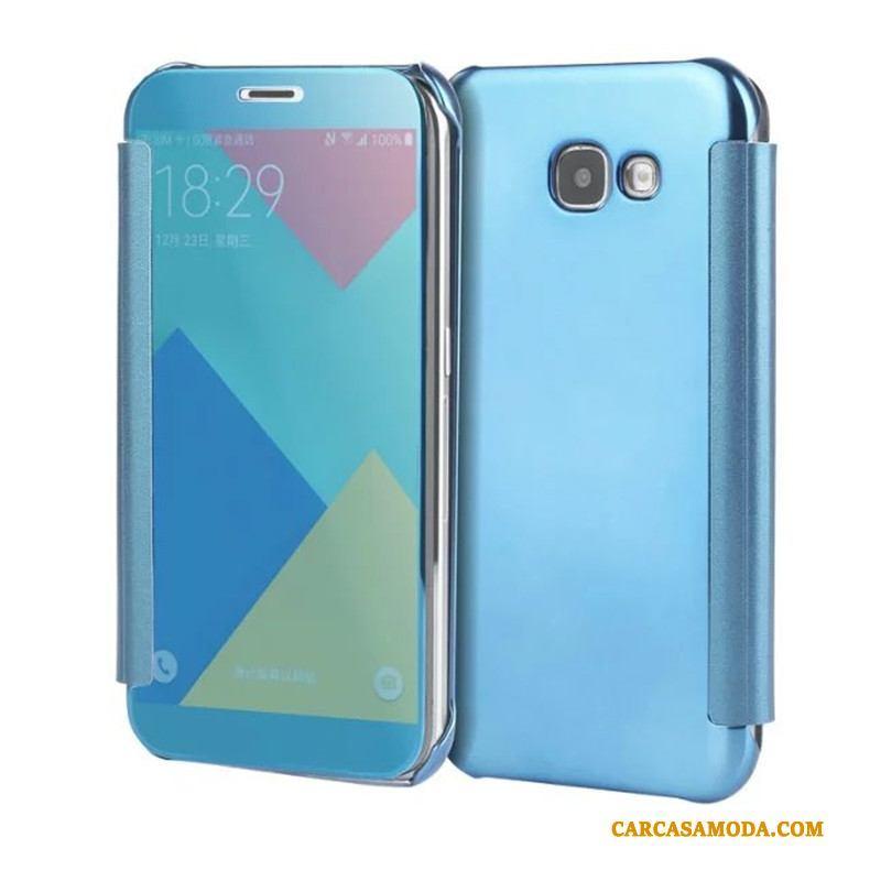 Samsung Galaxy A5 2017 Protección Espejo Folio Funda Silicona Chapado Estrellas Carcasa