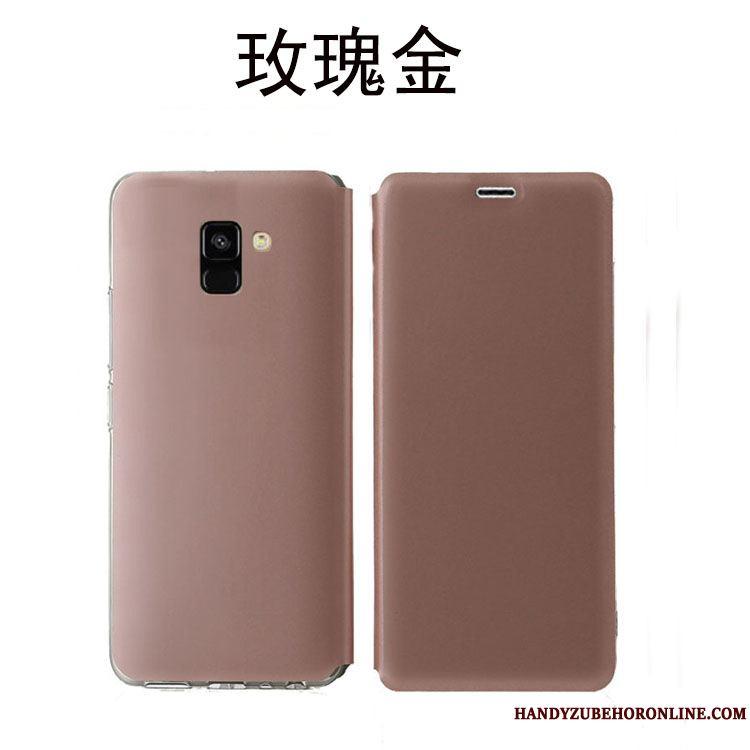 Samsung Galaxy A8 2018 Negro Teléfono Móvil Pu Transparente Suave Funda De Cuero Estrellas