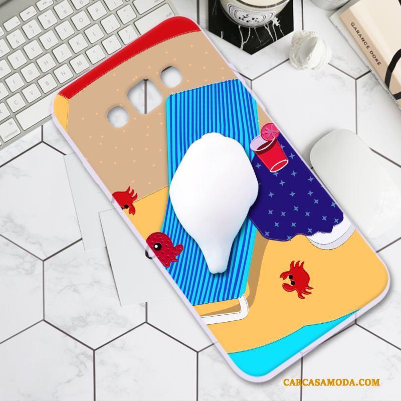 Samsung Galaxy A8 Descompresión Creativo Personalidad Funda Silicona Carcasa Suave Amarillo