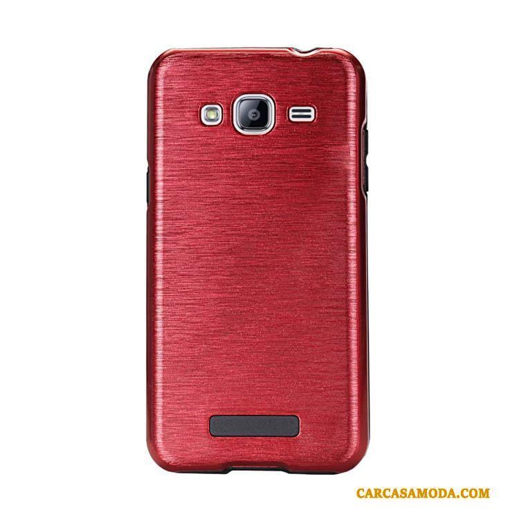 Samsung Galaxy J3 2015 Creativo Funda Seda Nuevo Rojo Carcasa Tendencia