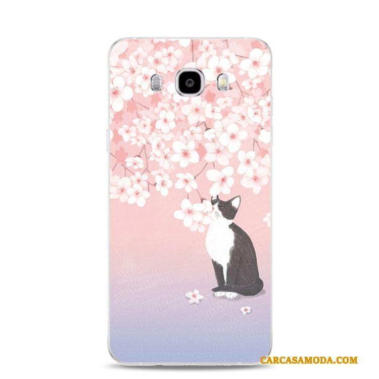 Samsung Galaxy J3 2017 Funda Silicona Flores Soporte Rosa Gatos Relieve Estrellas