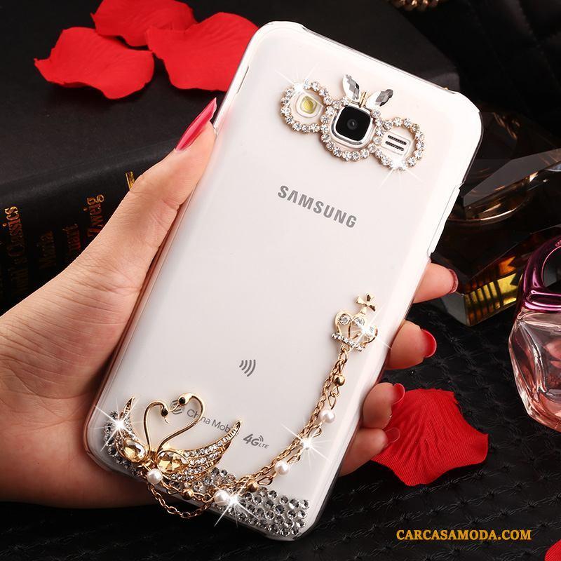 Samsung Galaxy J7 2015 Oro Funda Silicona Blanco Carcasa Anti-caída Tendencia Estrellas