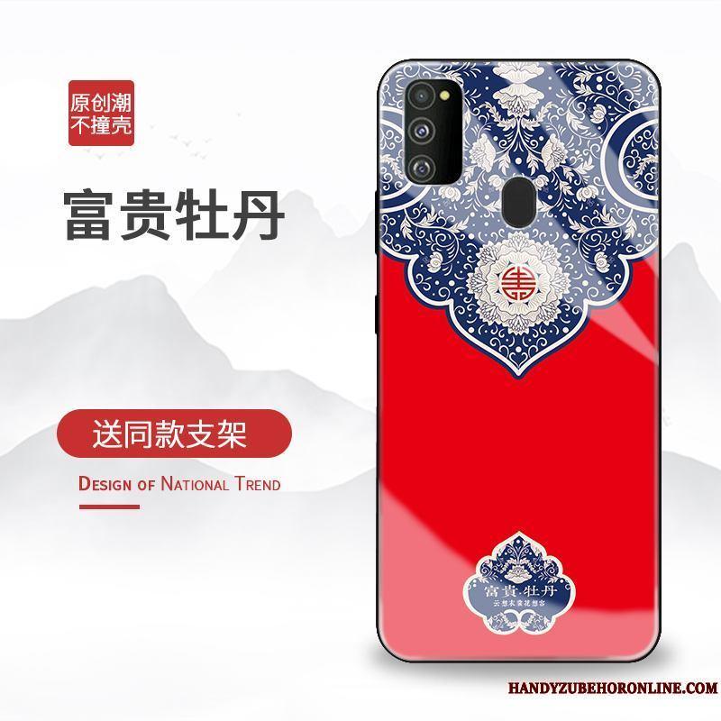 Samsung Galaxy M30s Funda Silicona Personalidad Creativo Tendencia Rojo Anti-caída Estrellas