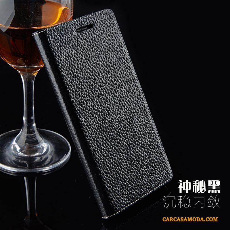 Samsung Galaxy Note 3 Mini Estrellas Protección Funda Silicona Cuero Genuino Teléfono Móvil Negro