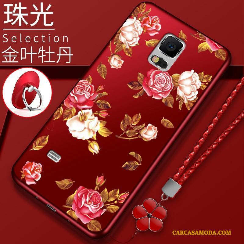 Samsung Galaxy Note 4 Tendencia Rojo Carcasa Funda Silicona Protección Estrellas Flores