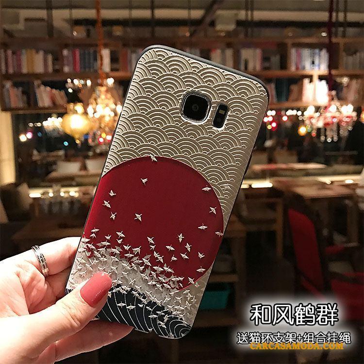 Samsung Galaxy Note 5 Estrellas Relieve Color Negro Funda Grúa Viento