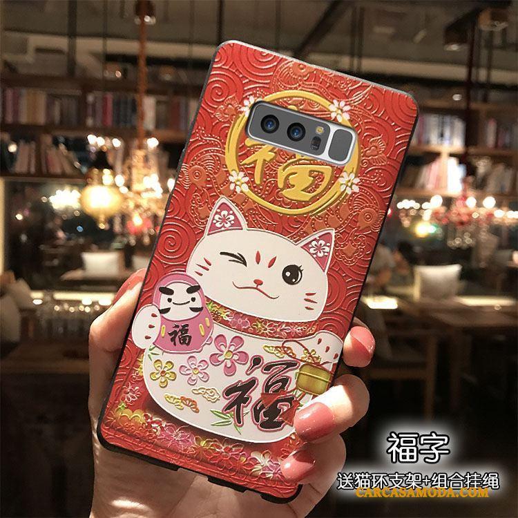 Samsung Galaxy Note 8 Todo Incluido Estrellas Carcasa Adornos Colgantes Rojo Funda Silicona Riqueza