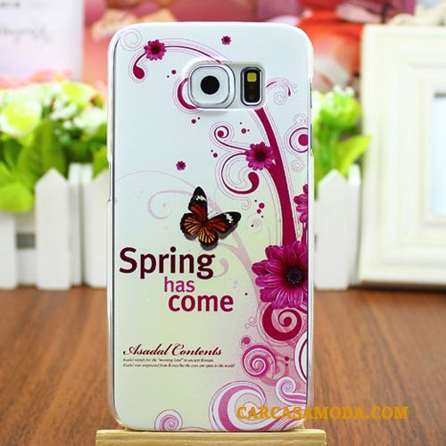 Samsung Galaxy S6 Rosa Carcasa Funda Silicona Protección Teléfono Móvil Estrellas