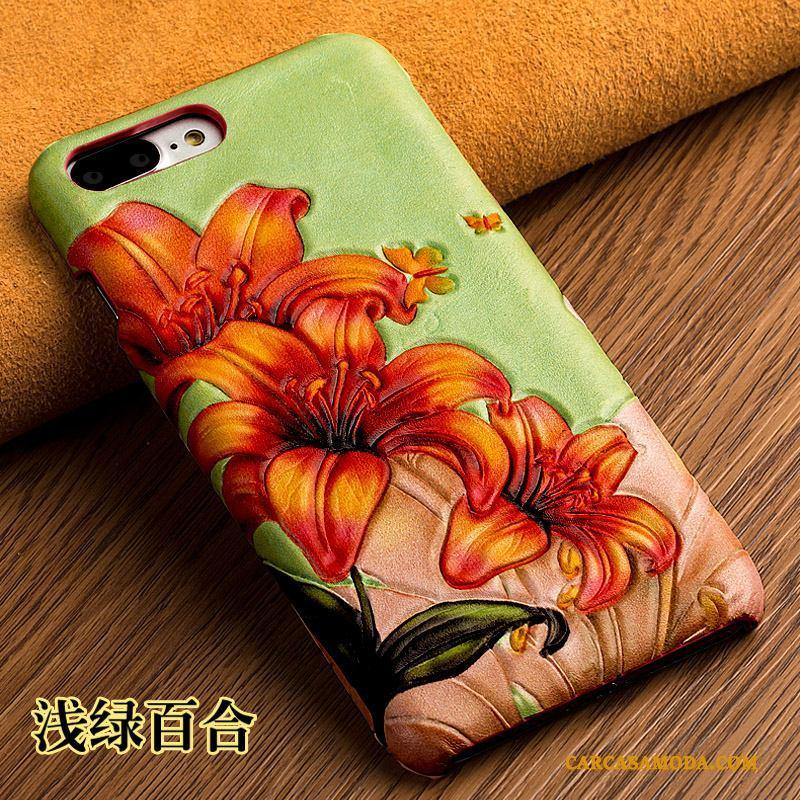 Samsung Galaxy S7 Edge Cuero Genuino Relieve Estrellas Carcasa Funda Silicona Cubierta Trasera Flores