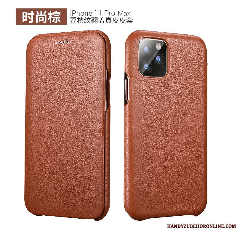 iPhone 11 Pro Max Negro Nuevo Carcasa Funda De Cuero Simple Cuero Genuino Teléfono Móvil
