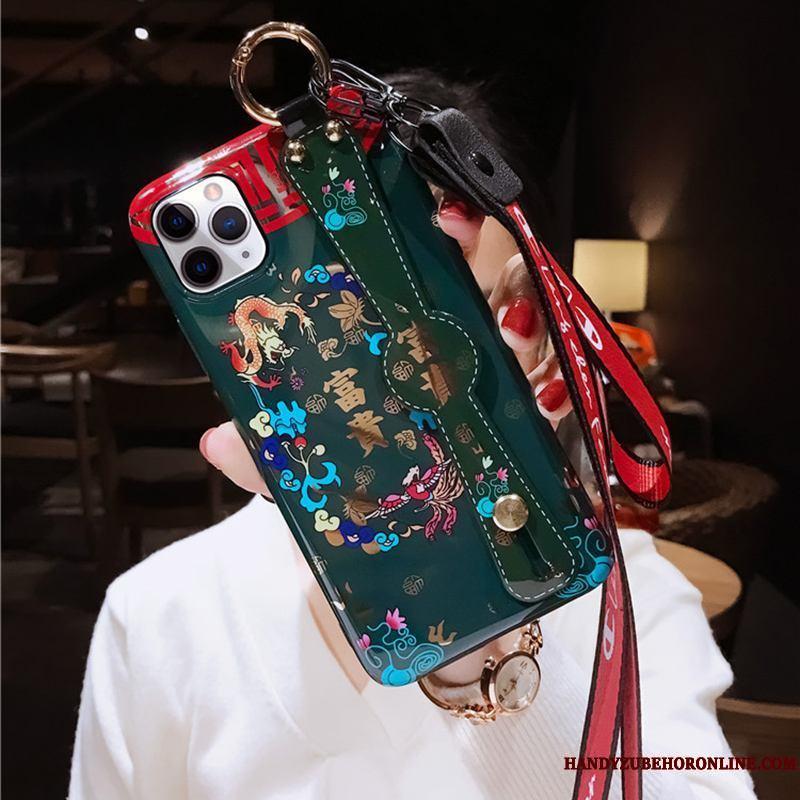iPhone 11 Pro Max Soporte Retro Cuello Colgante Anti-caída Gama Alta Rojo Funda Silicona