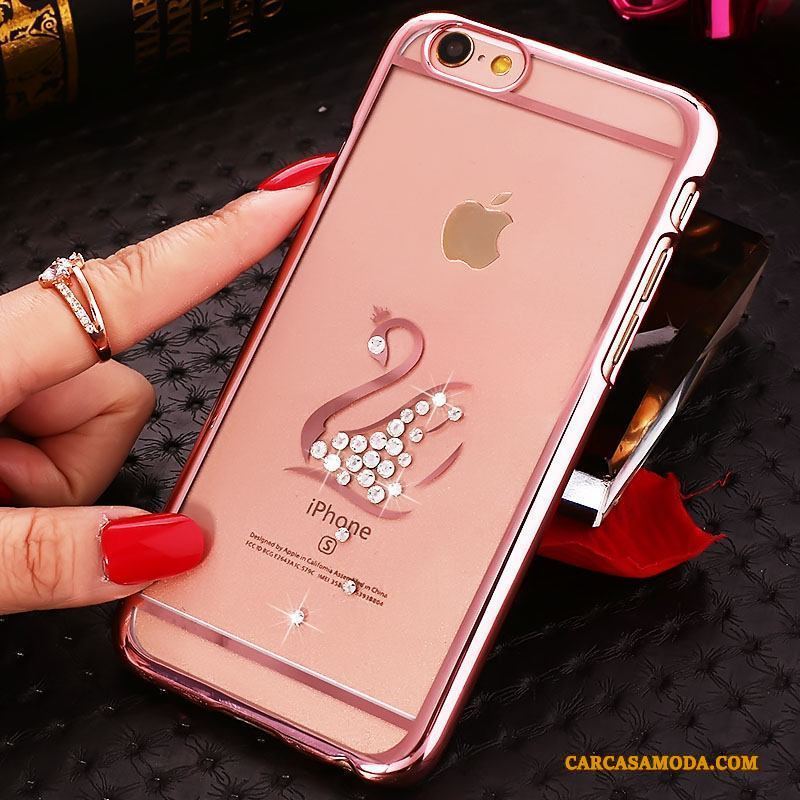 iPhone 4/4s Nuevo Teléfono Móvil Duro Carcasa Funda Transparente Oro Rosa