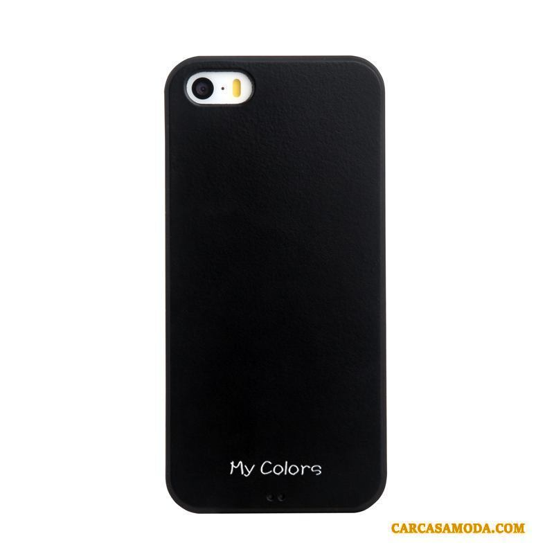 iPhone 5/5s Azul Tendencia Color Sólido Anti-caída Cuero Silicona Funda