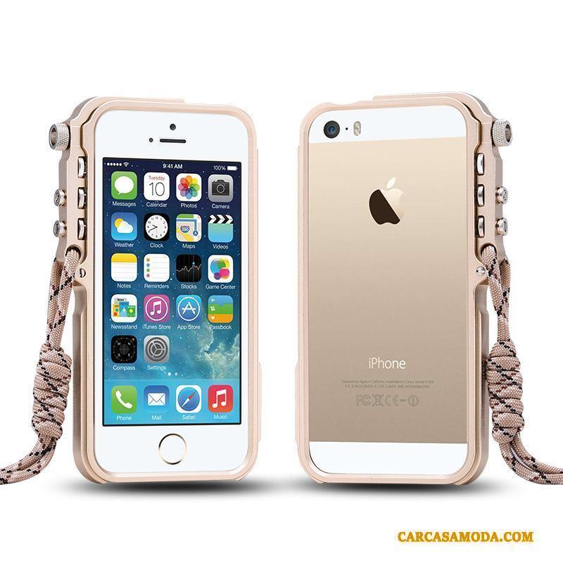iPhone 5/5s Carcasa Anti-caída Protección Tendencia Funda Silicona Azul Metal