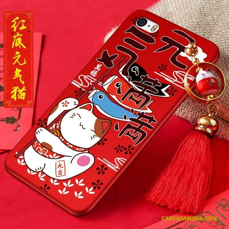 iPhone 5/5s Riqueza Funda Silicona Nuevo Anti-caída Carcasa Gatos Rojo