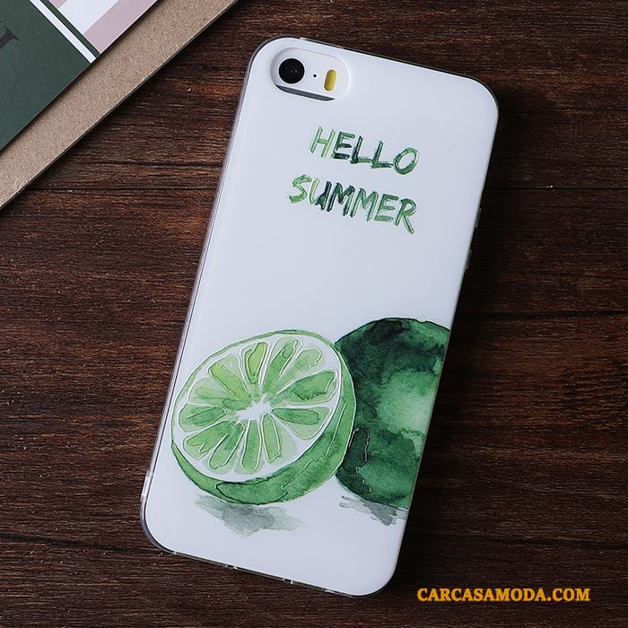 iPhone 5/5s Verde Suave Funda Silicona Relieve Adornos Colgantes
