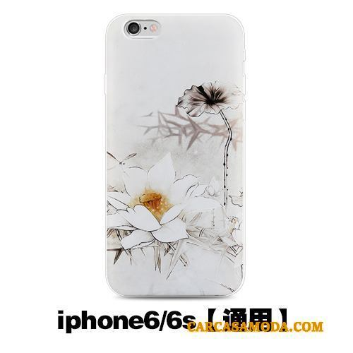 iPhone 6/6s Anti-caída Funda Silicona Suave Carcasa Estilo Chino Creativo Negro