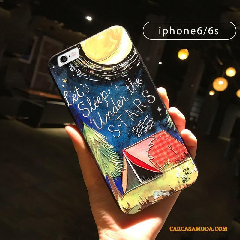 iPhone 6/6s Creativo Todo Incluido Funda Silicona Negro Relieve Soporte Adornos Colgantes