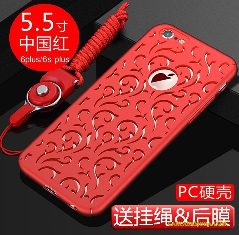 iPhone 6/6s Plus Carcasa Duro Negro Funda Nuevo Adornos Colgantes Transpirable
