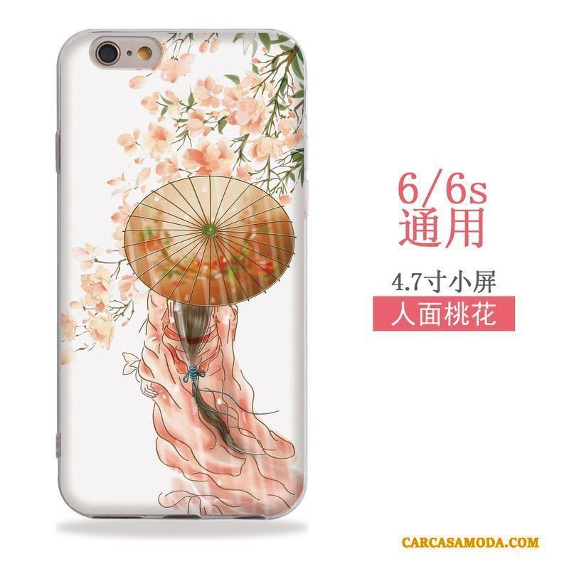 iPhone 6/6s Suave Adornos Colgantes Rosa Viento Funda Silicona Relieve Carcasa