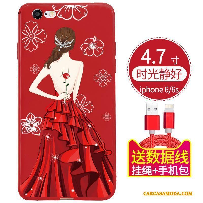 iPhone 6/6s Todo Incluido Funda Silicona Nobuck Suave Adornos Colgantes Rojo Anti-caída