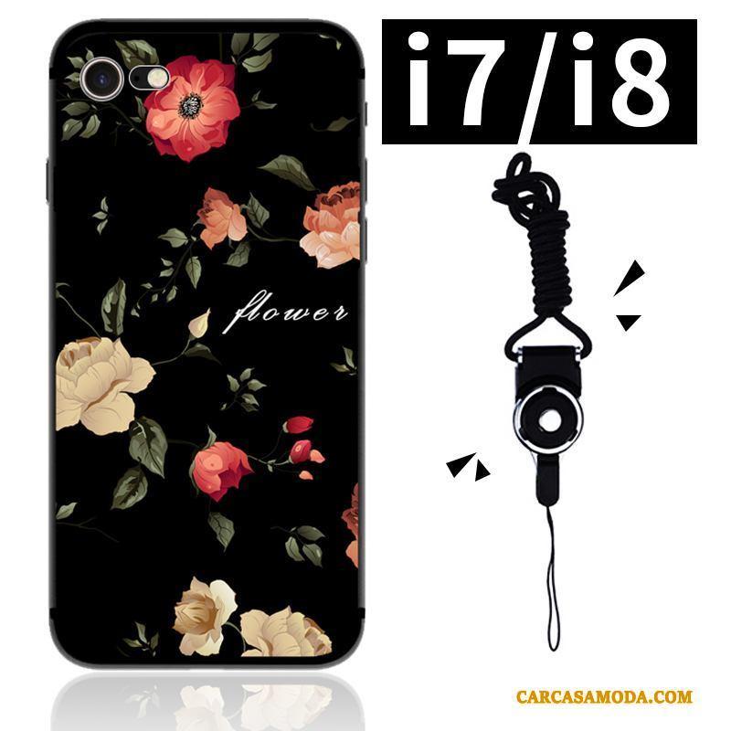 iPhone 7 Carcasa Funda Adornos Colgantes Flores Arte Silicona Suave