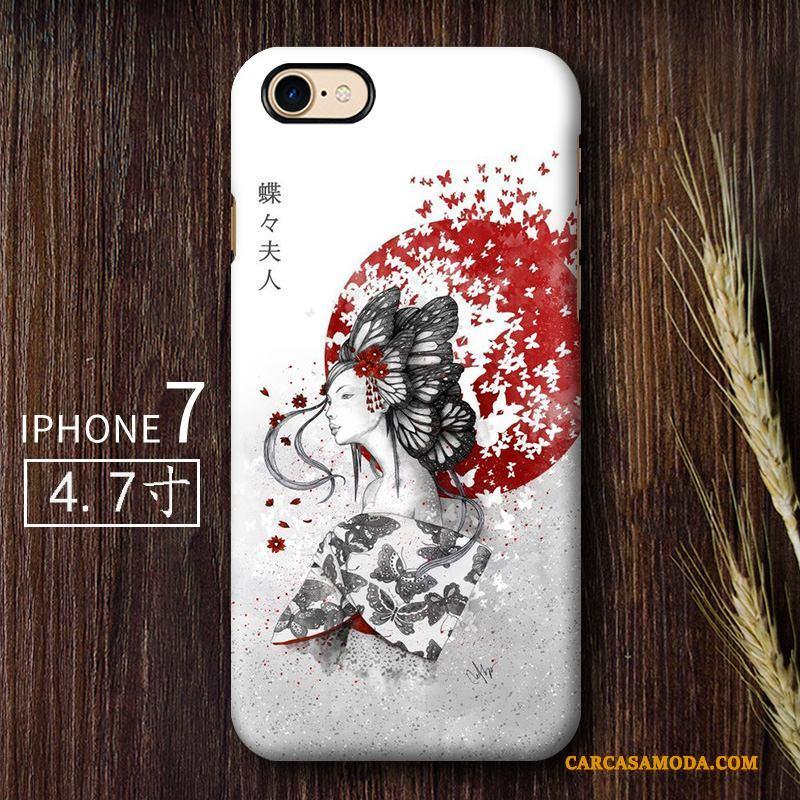 iPhone 7 Creativo Funda Silicona Anti-caída Duro Viento Arte Gris