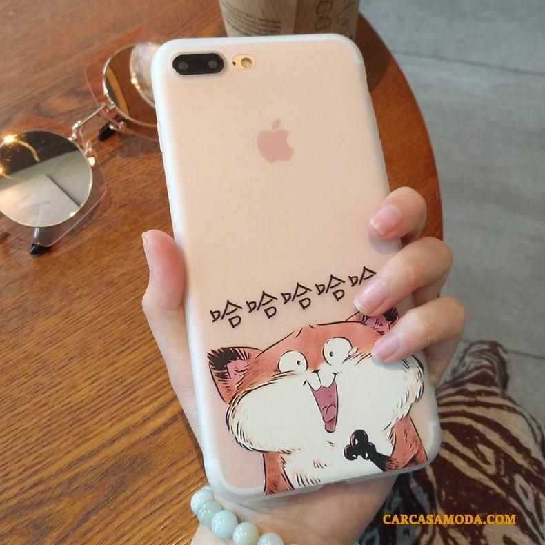 iPhone 7 Creativo Transparente Pareja Nobuck Funda Silicona Patrón Suave