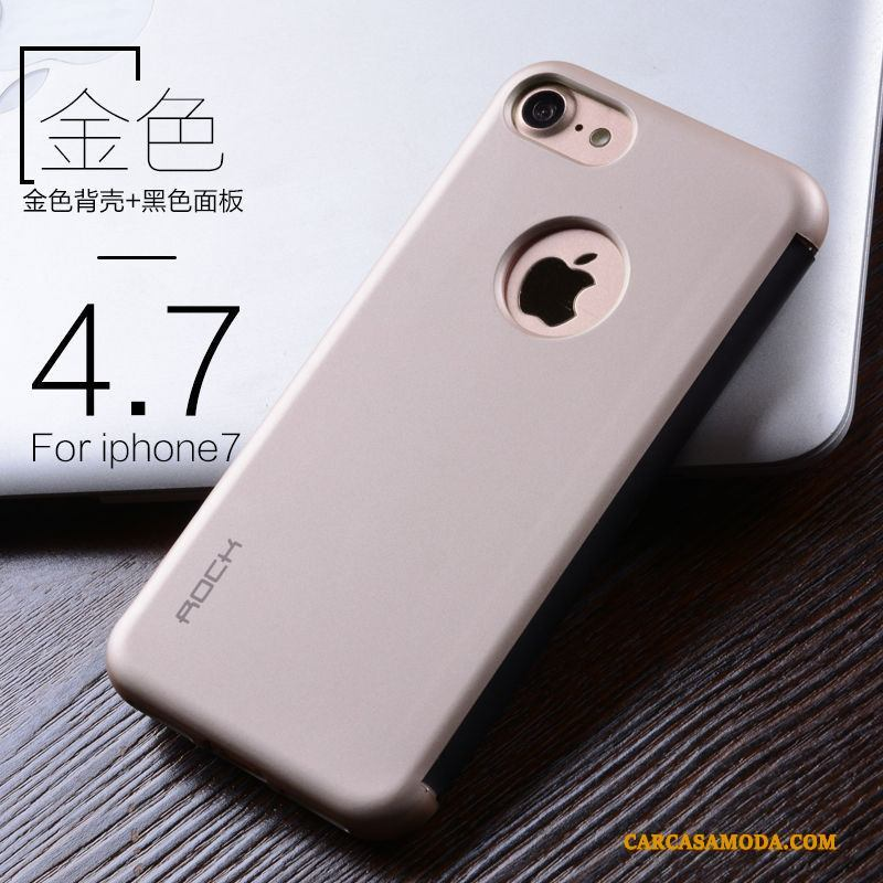 iPhone 7 Funda De Cuero Carcasa Clamshell Business Silicona Protección Oro