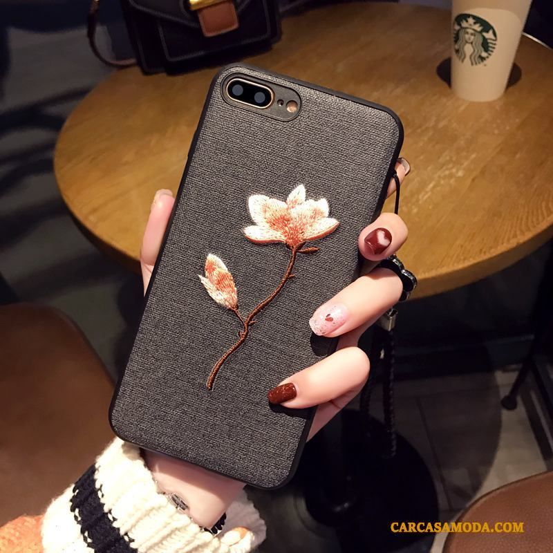 iPhone 7 Plus Adornos Colgantes Funda Bordados Gris Arte Suave Flores