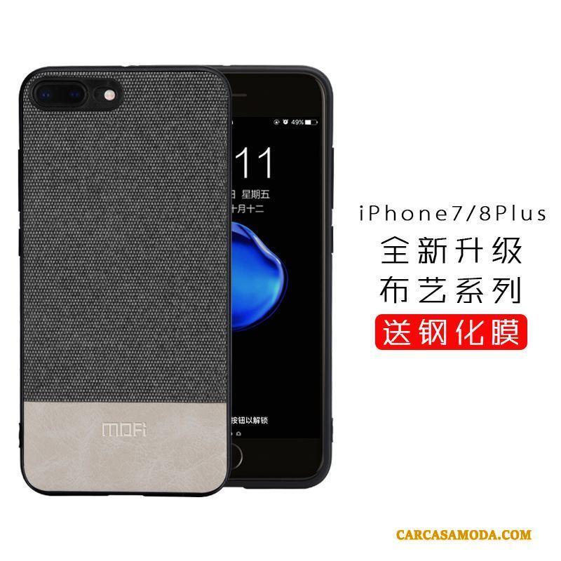 iPhone 7 Plus Anti-caída Negro Marca Tendencia Carcasa Funda Silicona Paño Todo Incluido