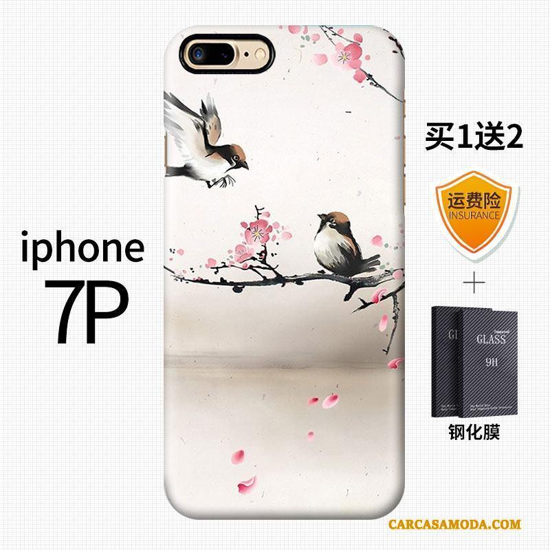 iPhone 7 Plus Creativo Estilo Chino Azul Duro Nobuck Arte Funda