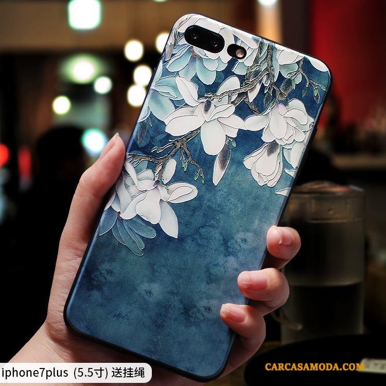 iPhone 7 Plus Silicona Funda Silicona Azul Nuevo Relieve Protección Carcasa
