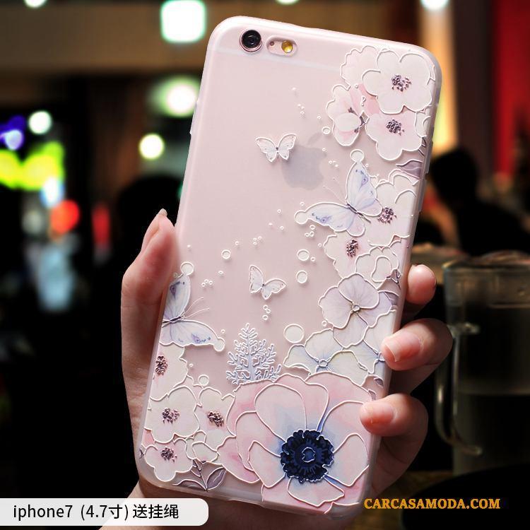 iPhone 7 Rosa Anti-caída Marca Tendencia Nobuck Elegante Todo Incluido Funda Silicona