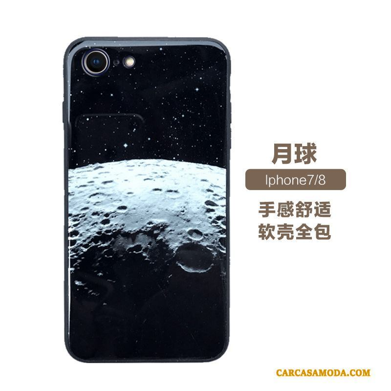 iPhone 7 Suave Vidrio Anti-caída Funda Silicona Púrpura Todo Incluido Creativo