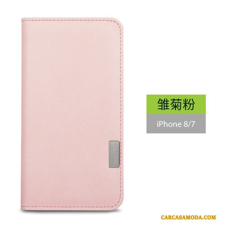 iPhone 8 Carcasa Funda De Cuero Folio Elegante Rosa Protección Silicona