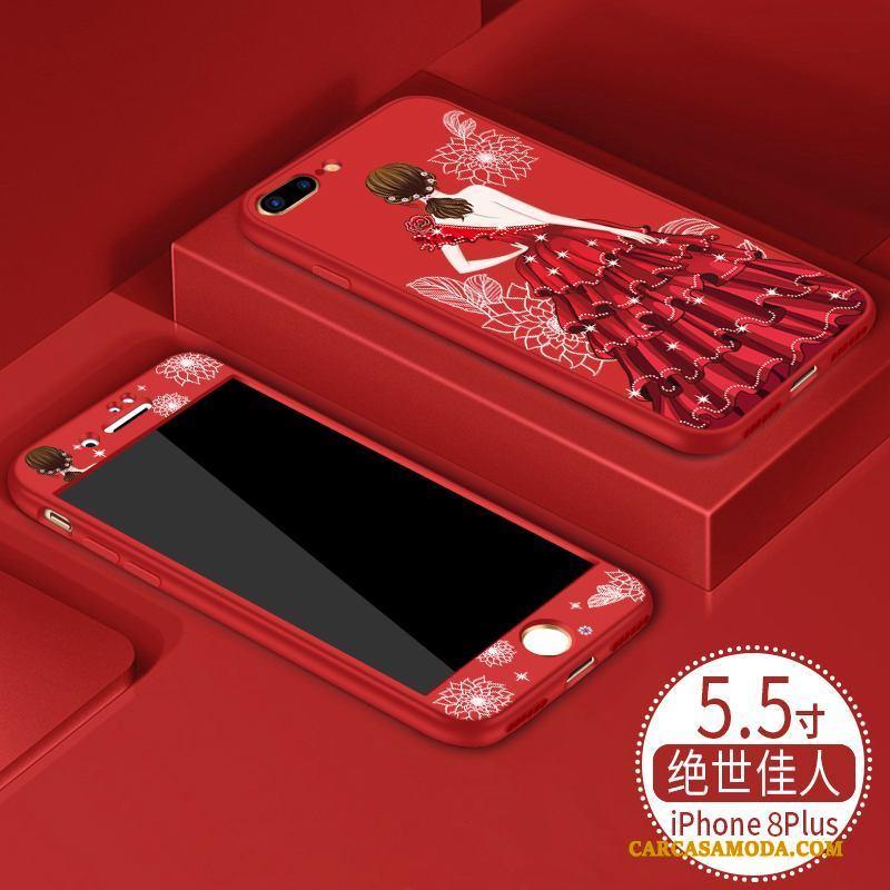 iPhone 8 Plus Anti-caída Carcasa Funda Silicona Suave Nuevo Rojo Marca Tendencia