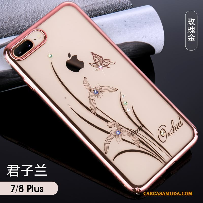 iPhone 8 Plus Funda Chapado Anti-caída Rhinestone Duro Oro Todo Incluido Oro Rosa