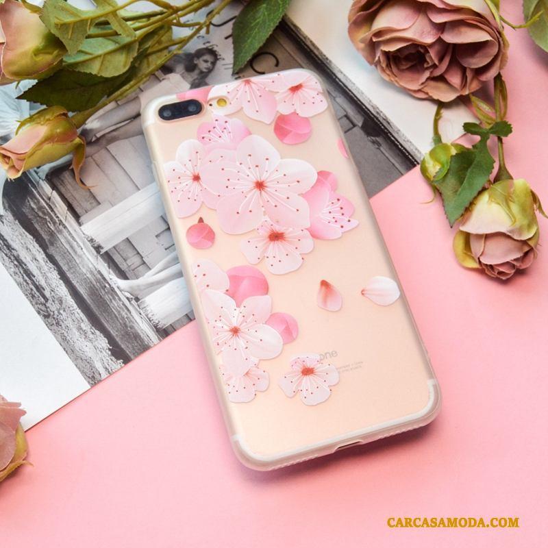 iPhone 8 Plus Pareja Nobuck Transparente Creativo Suave Color Funda Silicona