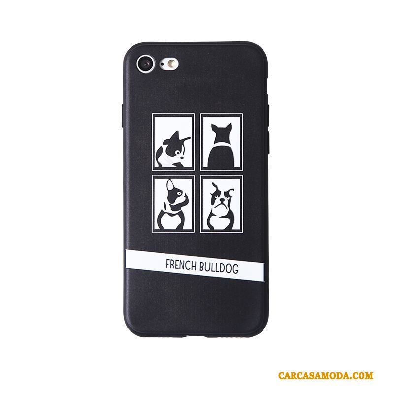 iPhone 8 Plus Suave Adornos Colgantes Anti-caída Pareja Funda Silicona Dibujos Animados Gris