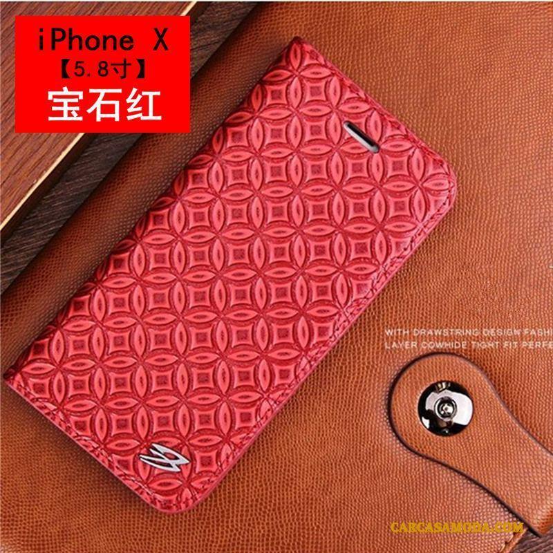 iPhone X Funda Lujo Carcasa Folio Verde Protección Business Patrón De Cocodrilo