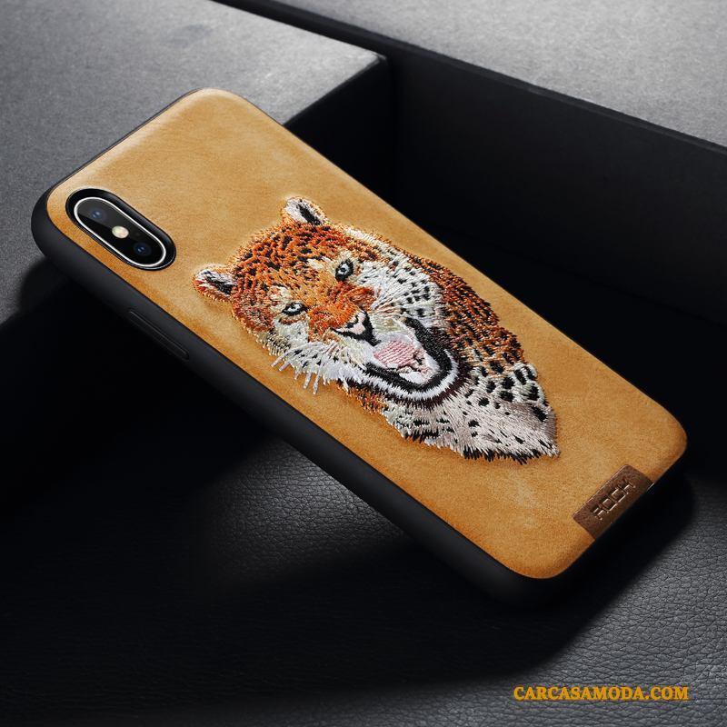 iPhone X Funda Silicona Marca Tendencia Bordados Todo Incluido Nuevo Amarillo Anti-caída
