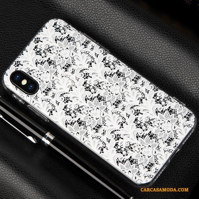 iPhone X Negro Todo Incluido Adornos Colgantes Funda Silicona Encaje Transparente