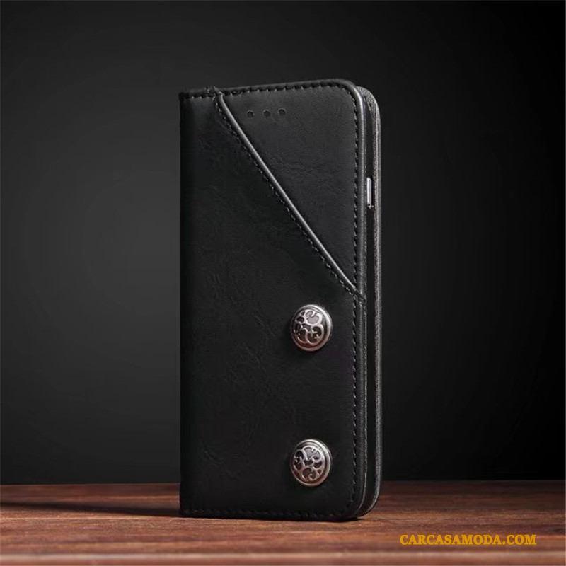 iPhone X Retro Funda De Cuero Silicona Calidad Cuero Genuino Carcasa Teléfono Móvil