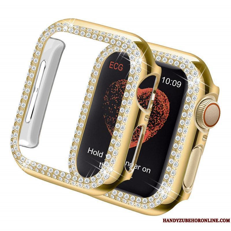 Apple Watch Series 5 Protección Rhinestones Tendencia Funda Oro Duro Borde