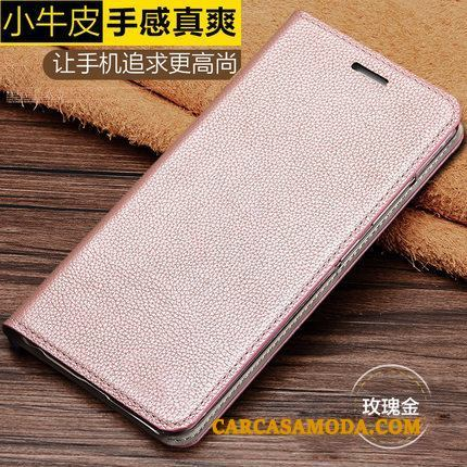 Htc One A9s Cuero Genuino Funda Lujo Protección Folio Oro Rosa Business