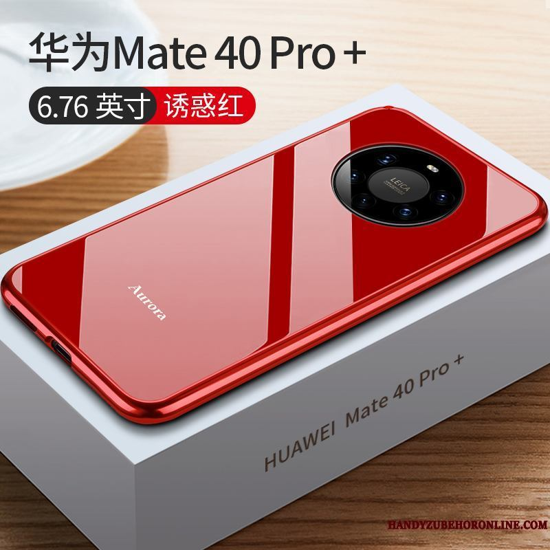 Huawei Mate 40 Pro+ Borde Net Red Protección Rojo Metal Funda Carcasa