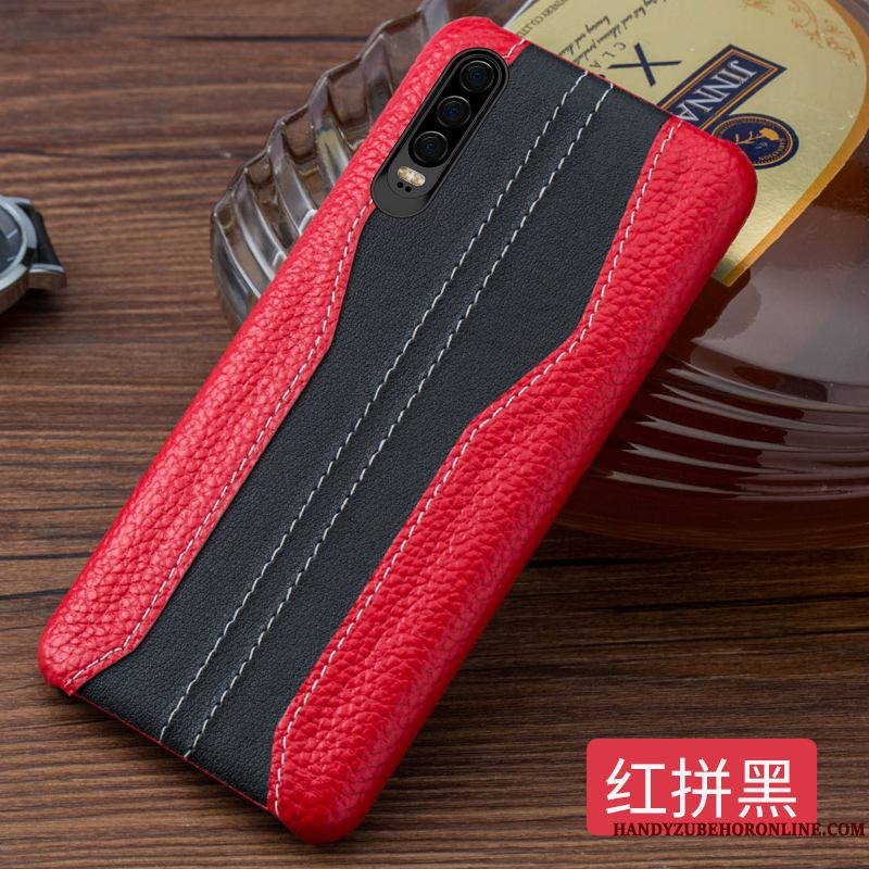 Huawei P30 Funda Marca Tendencia Creativo Costura Cuero Genuino Personalizada Nuevo Simple