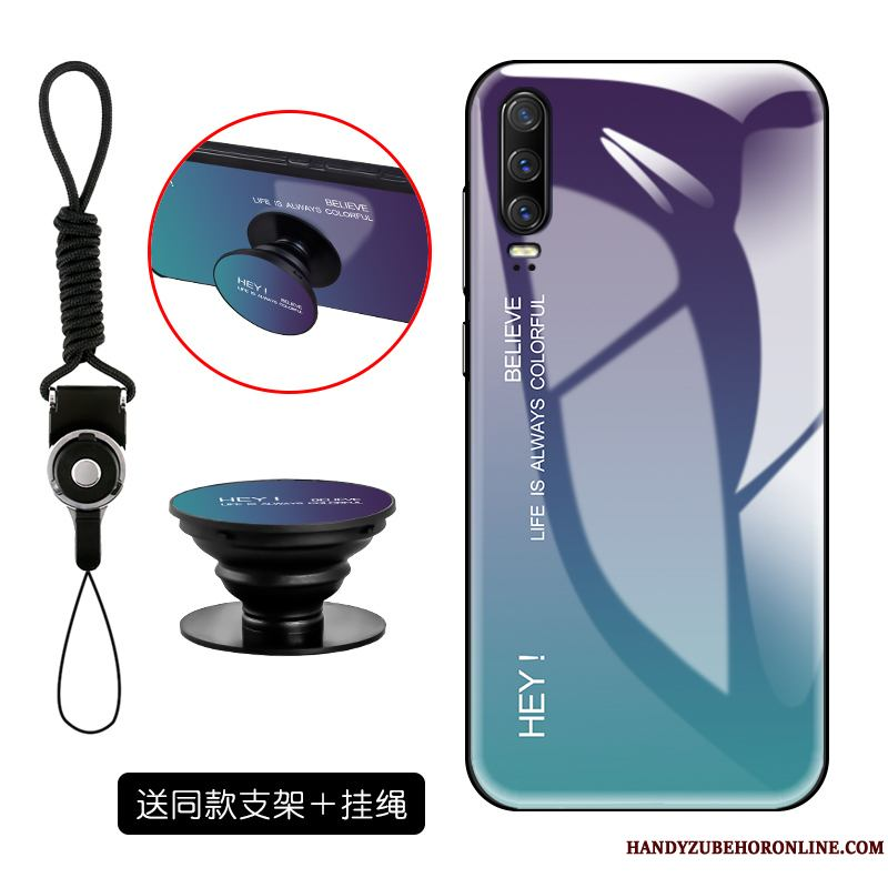 Huawei P30 Funda Tendencia Personalidad Creativo Vidrio Templado Suave Net Red Simple